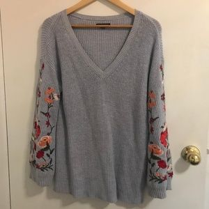 Blue, embroidered sweater